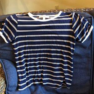 Ladies shirt Size XS - navy w/white and tan stripe